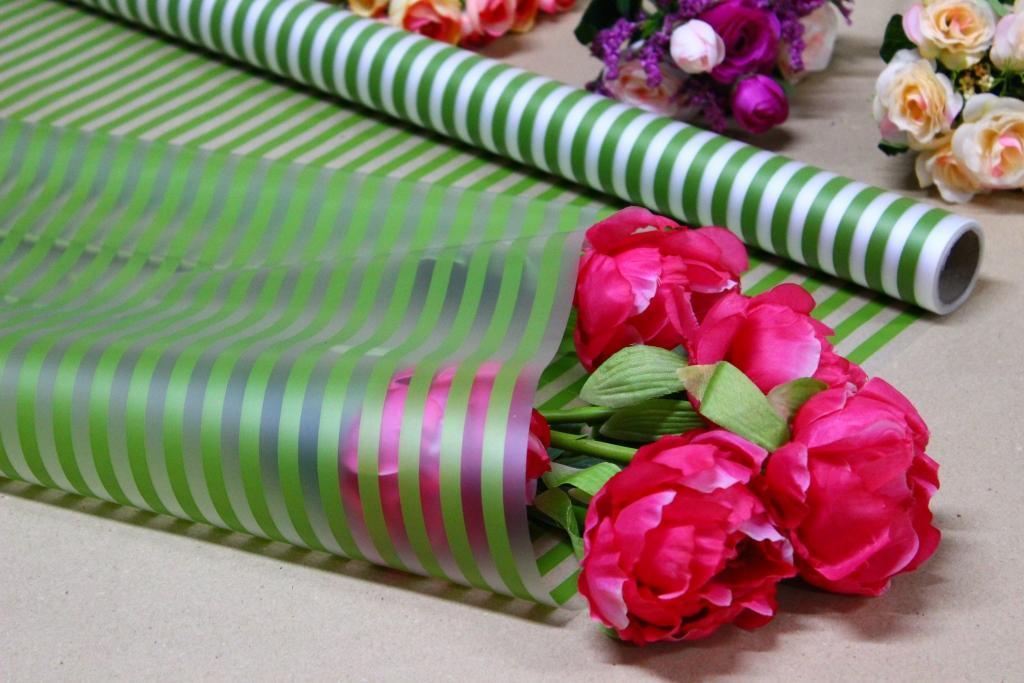 Калька для цветов - матовая флористическая пленка 70см*10м Полоса лайм