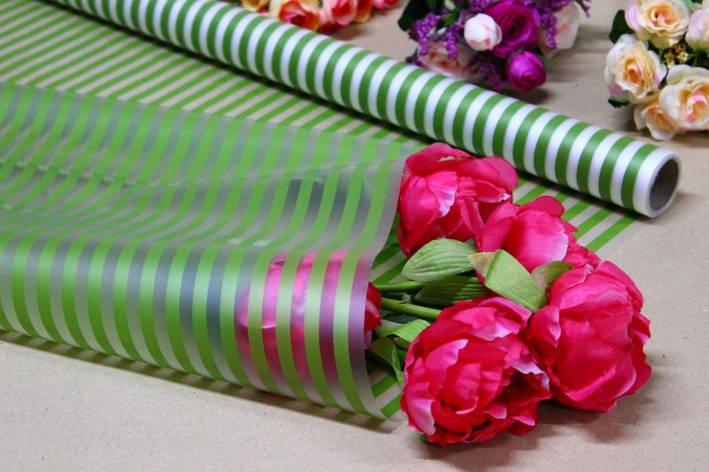 Калька для цветов - матовая флористическая пленка 70см*10м Полоса лайм, фото 2