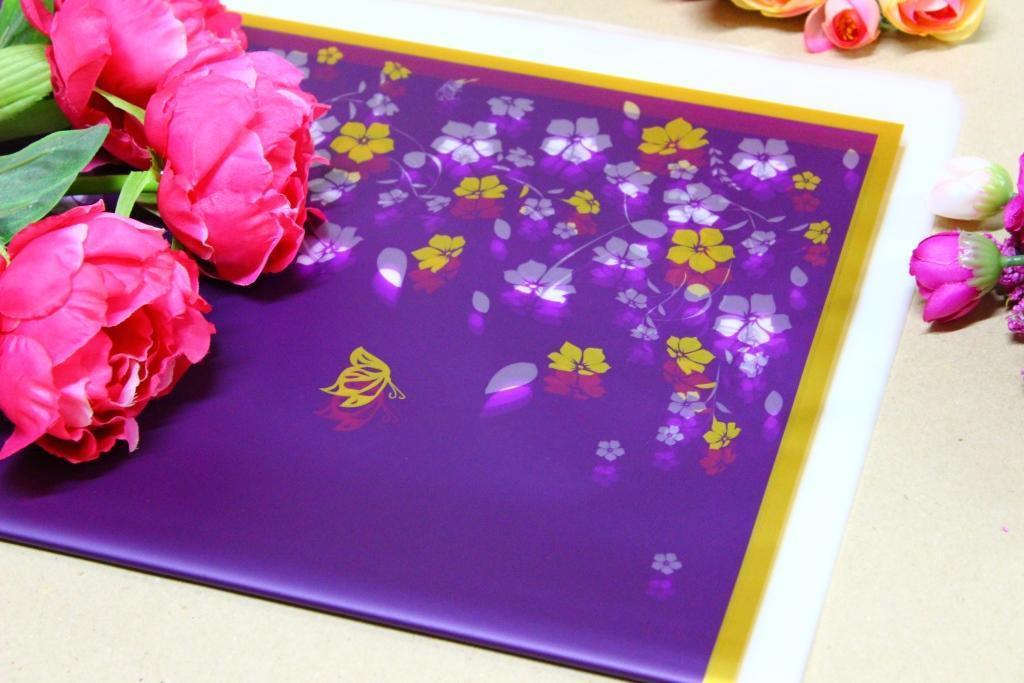 Калька для цветов с рисунком 60*60см 20л/уп, 17HK013 - Фиолетовая