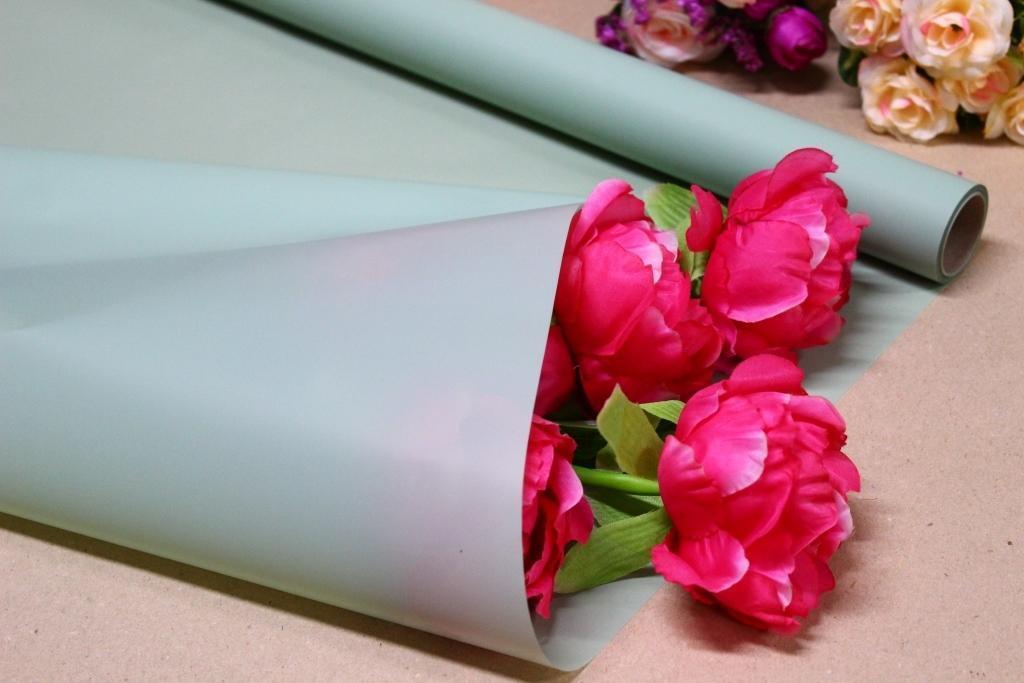 Калька для цветов - матовая флористическая пленка 70см*10м Фисташковая