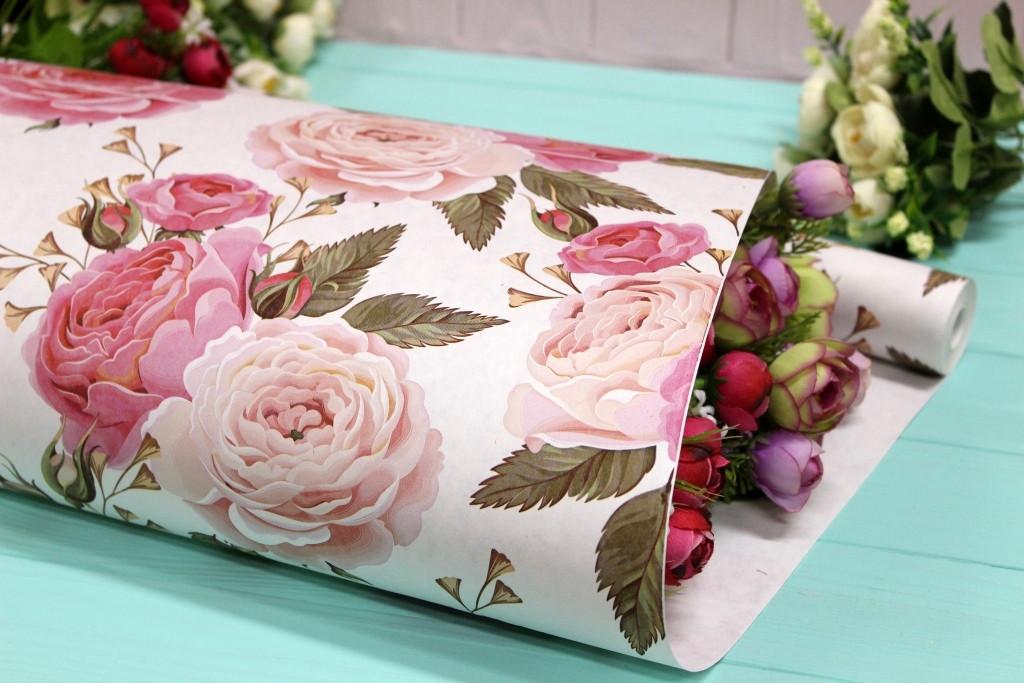 Односторонняя крафт бумага для цветов и подарков 70см*10м №1008БЛ 1-СТ