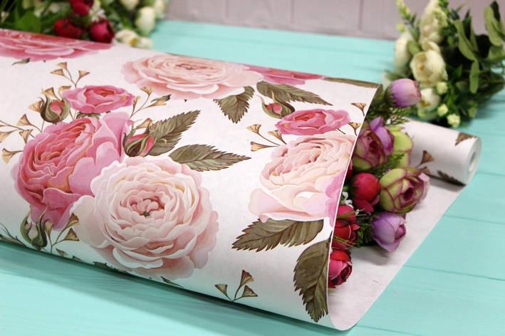 Односторонняя крафт бумага для цветов и подарков 70см*10м №1008БЛ 1-СТ, фото 2