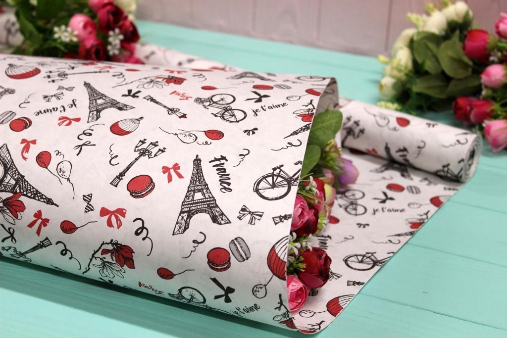 Двухсторонняя крафт бумага для цветов и подарков 70см*10м №1002БЛ 2-СТ