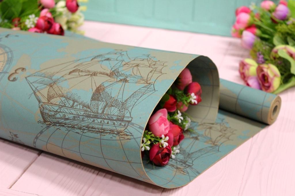 Двухсторонняя крафт бумага для цветов и подарков 70см*10м №1027БР 2-СТ