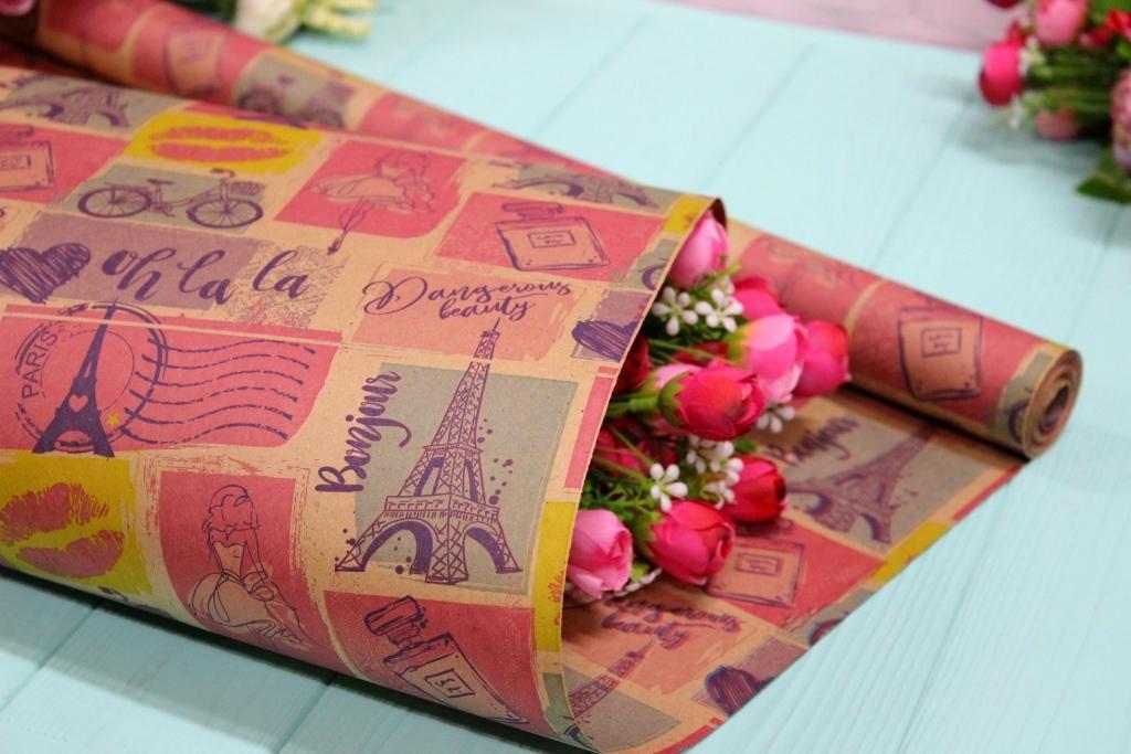 Двухсторонняя крафт бумага для цветов и подарков 70см*10м №1005БР 2-СТ