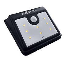 Уличный LED светильник с датчиком движения I-Zoom - Чёрный, фонарь на солнечной панели (8 LED)