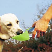 Дорожная бутылка-поилка для собак (силикон, салатовая) переносная, в дорогу для собаки