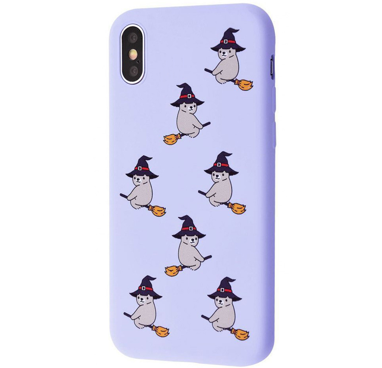 Чехол-накладка TPU WAVE Fancy Case для IPhone X / Xs Light Purple (Bear On Broom)