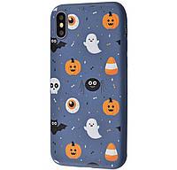 Чехол-накладка TPU WAVE Fancy Case для IPhone X / Xs Dark Blue (Ghosts And Pumpkins)