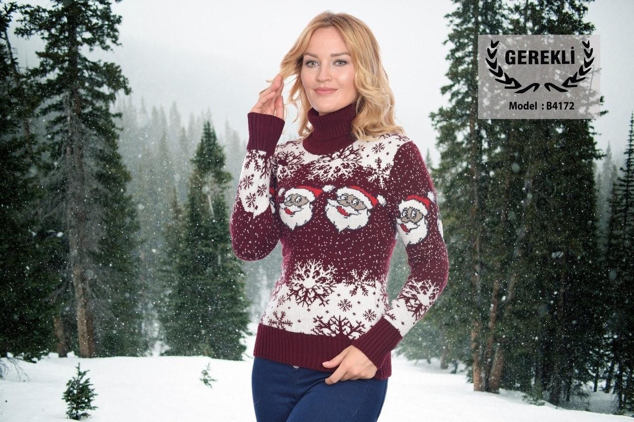 Вязаные женские шерстяные свитера новогодние оптом и в розницу G 4172