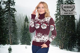 Вязаные женские шерстяные свитера новогодние оптом и в розницу G 4172, фото 2