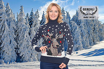 Вязаные женские шерстяные свитера новогодние оптом и в розницу G 4159, фото 2