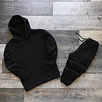 Теплый спортивный костюм мужской зимний Basic черный до -25*С | Комплект Худи + Штаны на флисе ЛЮКС качества