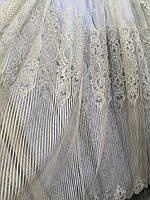 Тюль айвори с широким низом корд Турция, фото 1