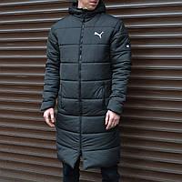 Куртка мужская зимняя Puma удлиненная черная | Парка Пума теплая | Пуховик мужской зимний | ЛЮКС качества
