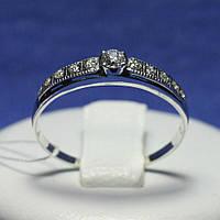 Серебряное кольцо с цирконом и чернением 1018, фото 1