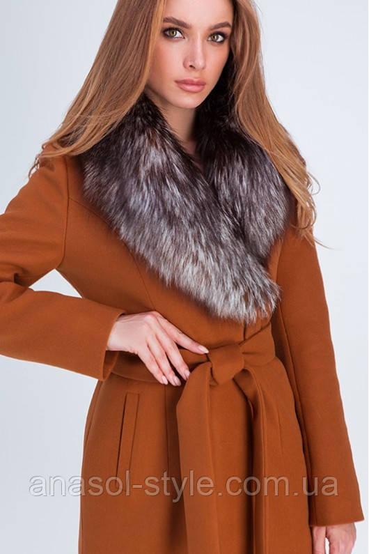 Зимнее роскошное пальто Айрис с воротником из натуральной чернобурки кэмел