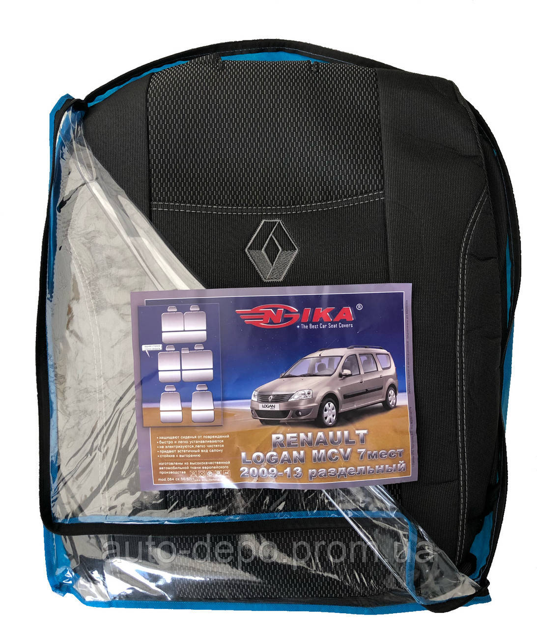 Чехлы на сиденья Renault Logan MCV 2009-2013 7 мест Nika