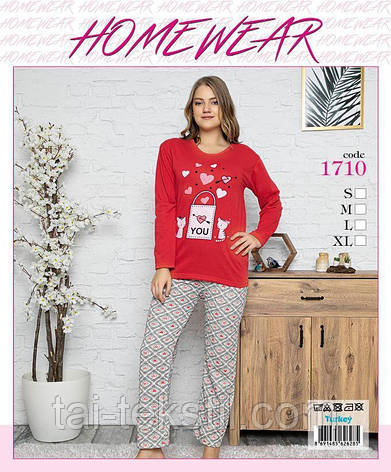 Homewear пижама женская молодежная на байке Турция ПОЛУБАТАЛ (M-2XL), фото 2