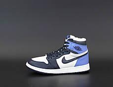Зимові жіночі кросівки Nike Air Jordan 1 Retro Winter blue. ТОП репліка ААА класу., фото 2