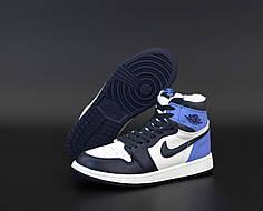 Зимние женские кроссовки Nike Air Jordan 1 Retro Winter blue. ТОП реплика ААА класса.