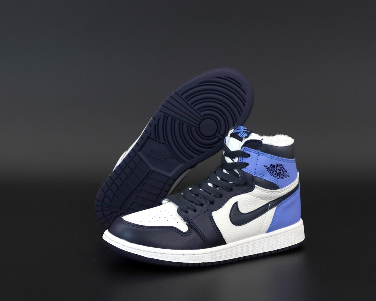 Зимові жіночі кросівки Nike Air Jordan 1 Retro Winter blue. ТОП репліка ААА класу.