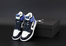 Зимові жіночі кросівки Nike Air Jordan 1 Retro Winter blue. ТОП репліка ААА класу., фото 3