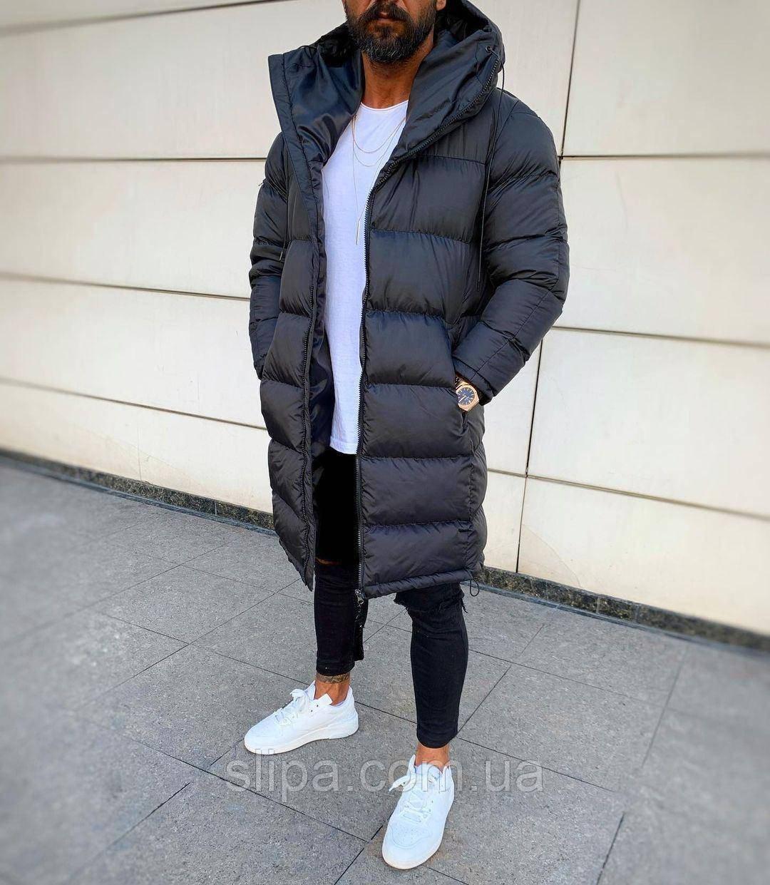 Мужская удлинённая зимняя куртка (Холлофайбер)