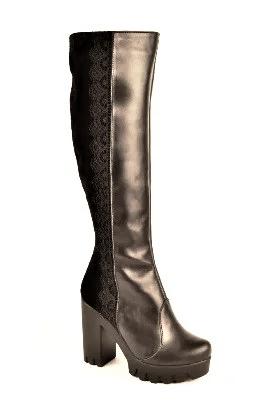 Чоботи зимові жіночі на підборах чорні шкіра і замша 131110. Жіноче взуття