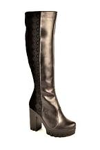 Сапоги зимние женские на каблуке натуральная кожа замша 131110. Женская обувь