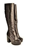 Чоботи зимові жіночі на підборах чорні шкіра і замша 131110. Жіноче взуття, фото 2