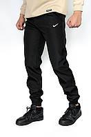 Спортивные штаны мужские Nike (Найк) черные плащевка на манжетах | брюки ТОП качества