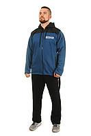 Теплый мужской спортивный костюм Tailer из трикотажа и плащевки сезон зима Удлиненная куртка! Размер 58 Батал