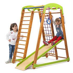 Дитячий спортивний дерев'яний куточок «Кроха - 2 мини»  ТМ Sportbaby, розміри 1.5х0.85х1.32м