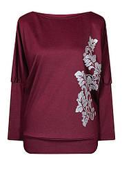 Демисезонная женская кофта с длинным рукавом Лоза больших размеров с вырезом