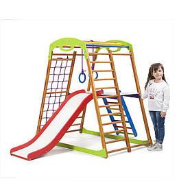 Детский спортивный деревянный уголок «BabyWood Plus 2» ТМ Sportbaby, размеры 1.3х0.85х1.32м