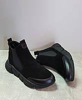 Женские демисезонные ботинки Zemira 6120/7841 черн замш +черн кожа