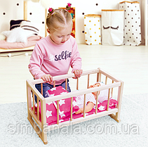 Дерев'яне ліжечко для ляльок з постіллю ТМ Graisya, Україна