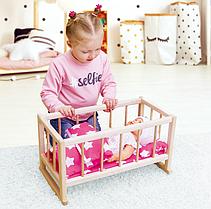 Деревянная кроватка для кукол с постелью ТМ Graisya, Украина