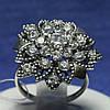 Массивное серебряное кольцо Цветок 11084