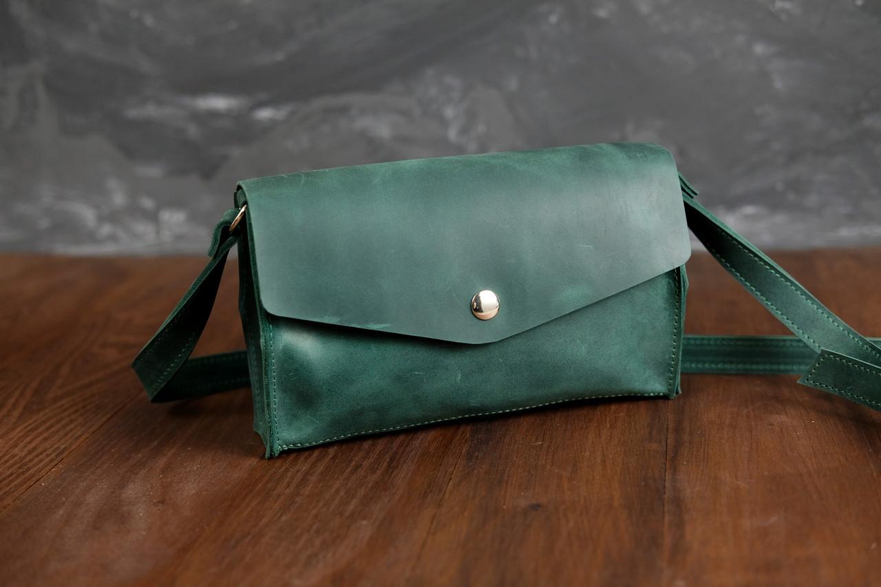 Сумка женская. Кожаная сумочка Ромбик Винтажная кожа цвет Зеленый
