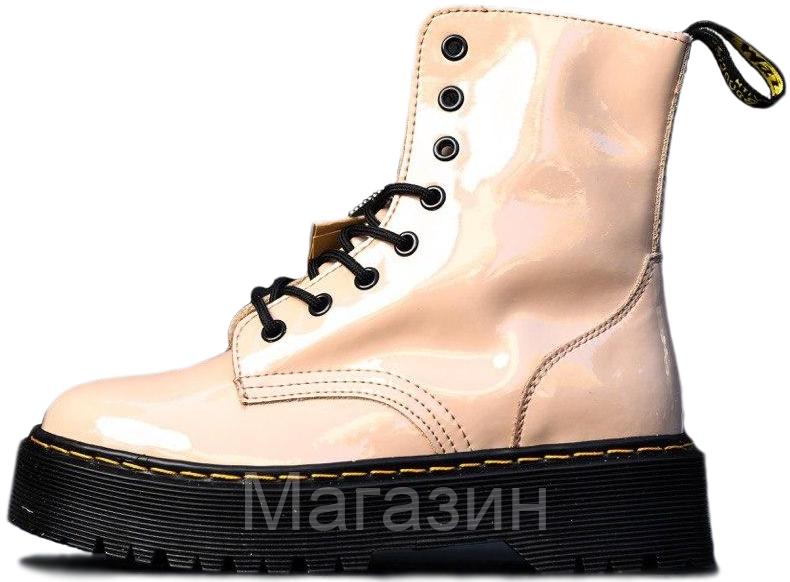 Женские Лакированные ботинки Dr. Martens Jadon Patent Beige без меха Доктор Мартинс Жадон бежевые Лаковая кожа
