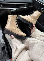 Женские Лакированные ботинки Dr. Martens Jadon Patent Beige без меха Доктор Мартинс Жадон бежевые Лаковая кожа, фото 2