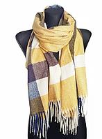 Теплый шарф Мелани клетка 180*70 см желтый, фото 1