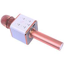 Мікрофон-колонка караоке безпровідна Q7 золотисто-рожевий, фото 2