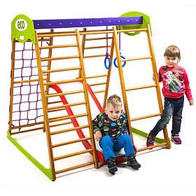 Детский спортивный деревянный уголок «Карамелька Plus 1»ТМ Sportbaby, размеры 1.3х1.24х1.32м
