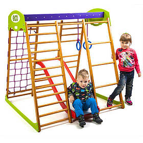 Дитячий спортивний дерев'яний куточок «Карамелька Plus 1»ТМ Sportbaby, розміри 1.3х1.24х1.32м