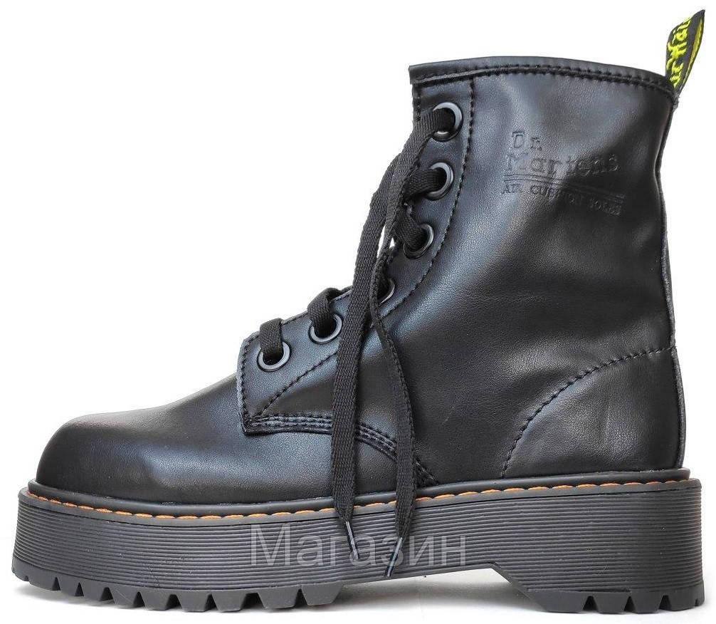 Женские зимние ботинки Dr. Martens Molly Black Доктор Мартинс Молли черные без меха