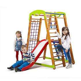 Детский спортивный деревянный уголок «Кроха - 2 Plus 2»ТМ Sportbaby, размеры 1.5х0.85х1.32м
