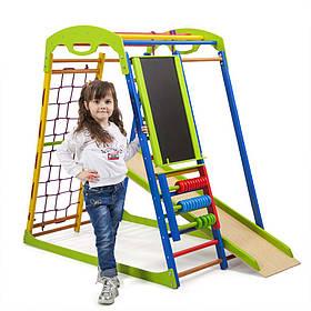 Детский спортивный деревянный уголок «SportWood Plus»ТМ Sportbaby, размеры 1.3х0.85х1.32м